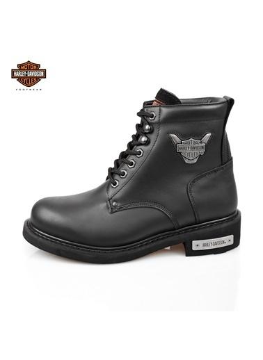 Harley Davidson Bağcıklı Deri Bot Siyah